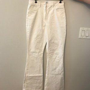 Aritzia white high waisted flair pants white